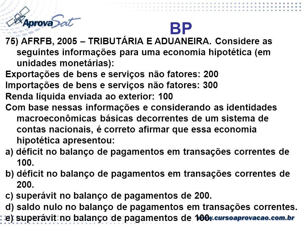 BP 75) AFRFB, 2005 – TRIBUTÁRIA E ADUANEIRA. Considere as seguintes informações para uma economia hipotética (em unidades monetárias):