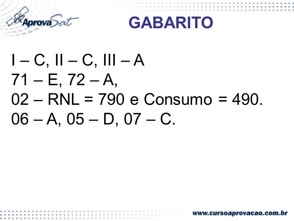 GABARITO I – C, II – C, III – A. 71 – E, 72 – A, 02 – RNL = 790 e Consumo = 490.