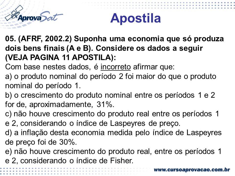 Apostila 05. (AFRF, 2002.2) Suponha uma economia que só produza dois bens finais (A e B). Considere os dados a seguir (VEJA PAGINA 11 APOSTILA):