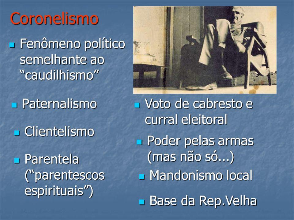 Coronelismo Fenômeno político semelhante ao caudilhismo Paternalismo