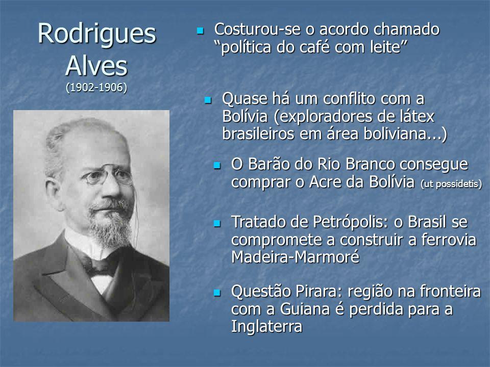 Rodrigues Alves (1902-1906) Costurou-se o acordo chamado política do café com leite