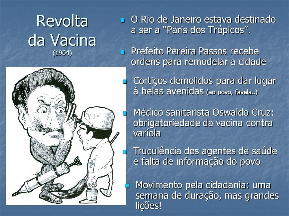 Revolta da Vacina (1904) O Rio de Janeiro estava destinado a ser a Paris dos Trópicos .