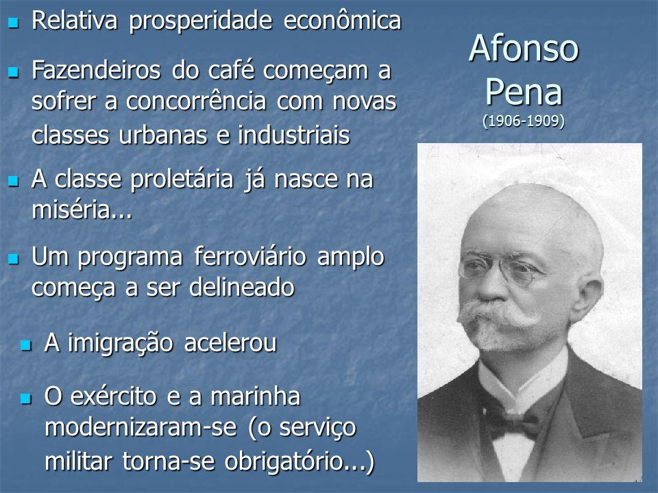 Afonso Pena (1906-1909) Relativa prosperidade econômica