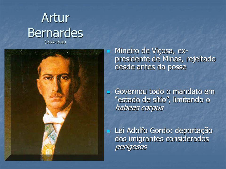 Artur Bernardes (1922-1926) Mineiro de Viçosa, ex-presidente de Minas, rejeitado desde antes da posse.