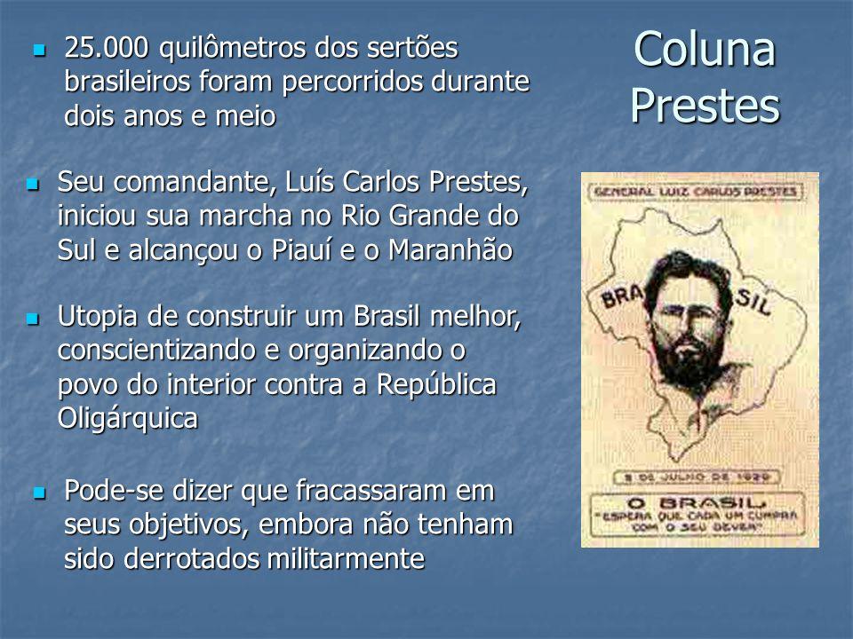 Coluna Prestes 25.000 quilômetros dos sertões brasileiros foram percorridos durante dois anos e meio.