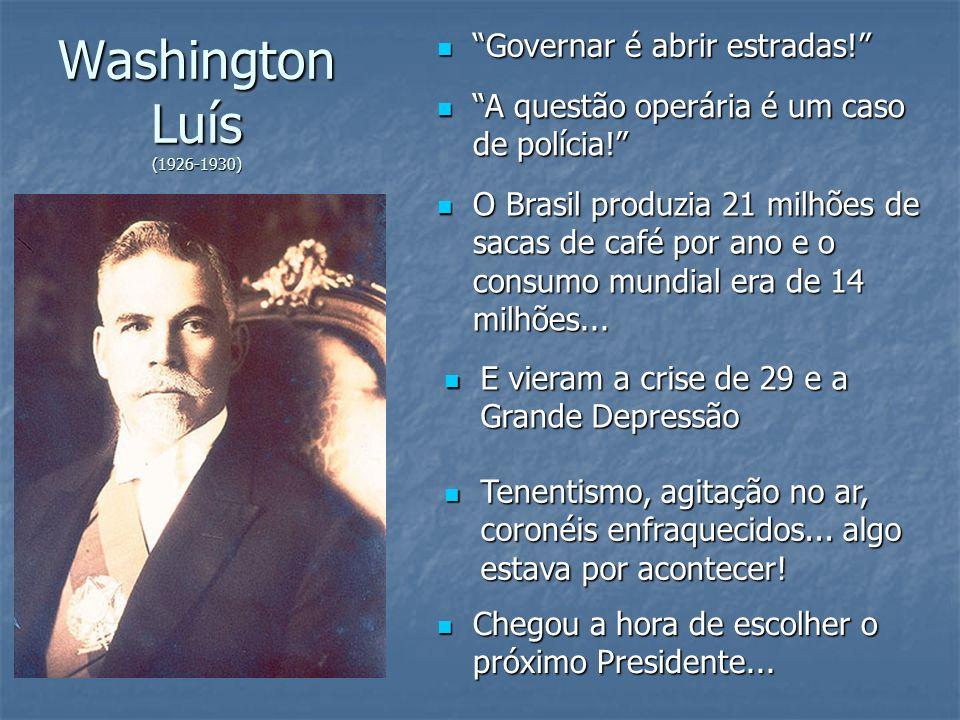 Washington Luís (1926-1930) Governar é abrir estradas!
