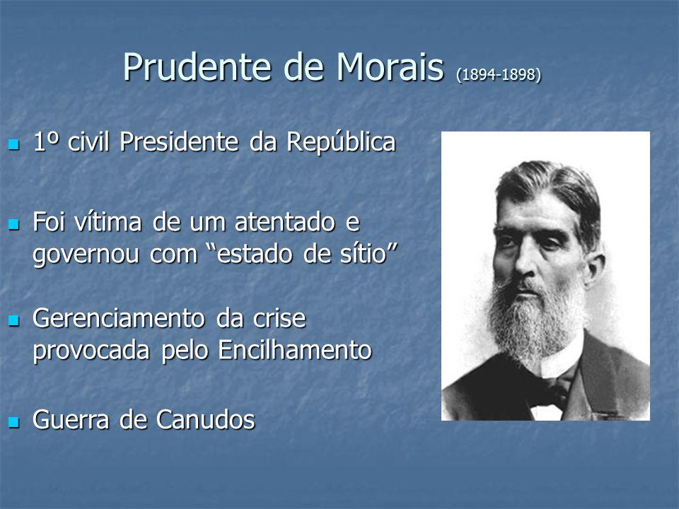 Prudente de Morais (1894-1898) 1º civil Presidente da República