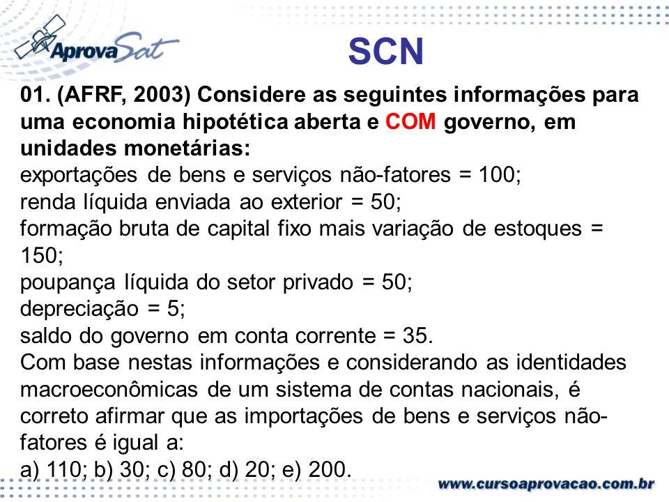 SCN 01. (AFRF, 2003) Considere as seguintes informações para uma economia hipotética aberta e COM governo, em unidades monetárias: