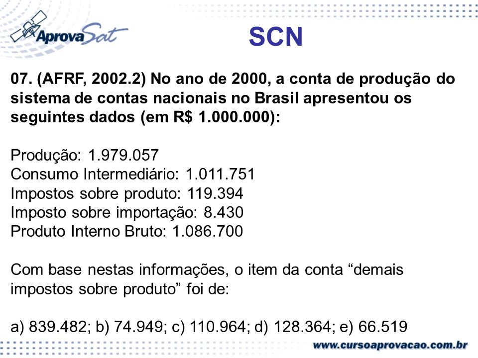 SCN 07. (AFRF, 2002.2) No ano de 2000, a conta de produção do sistema de contas nacionais no Brasil apresentou os seguintes dados (em R$ 1.000.000):