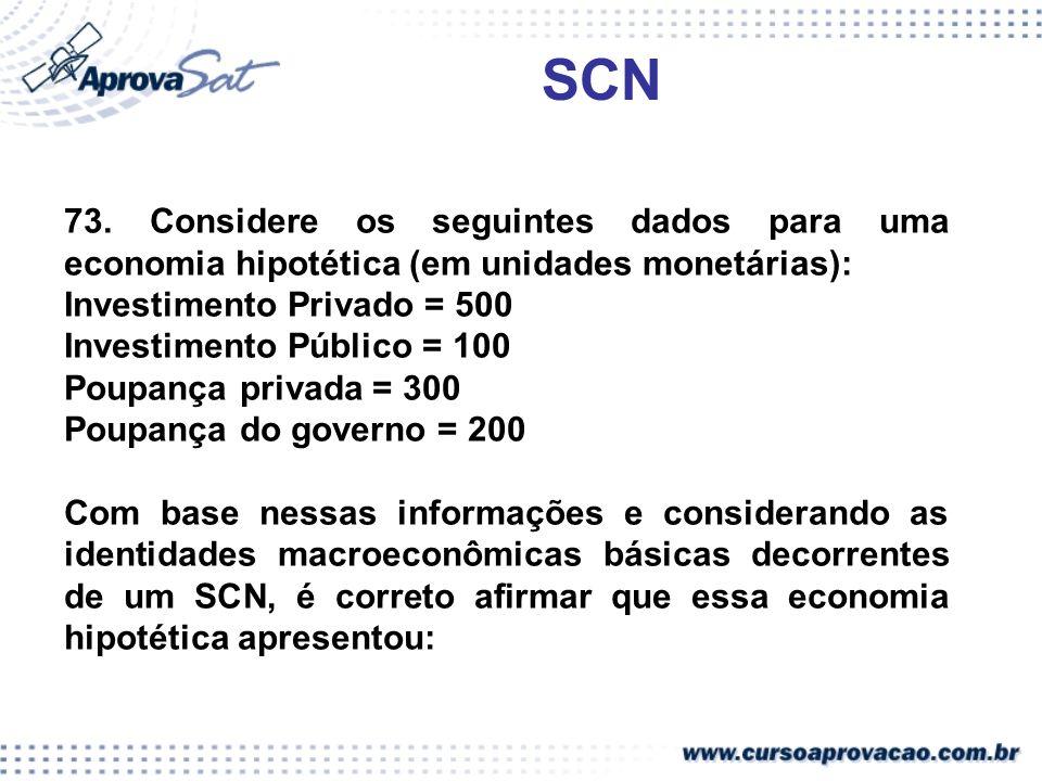 SCN 73. Considere os seguintes dados para uma economia hipotética (em unidades monetárias): Investimento Privado = 500.