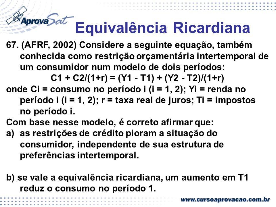 Equivalência Ricardiana C1 + C2/(1+r) = (Y1 - T1) + (Y2 - T2)/(1+r)