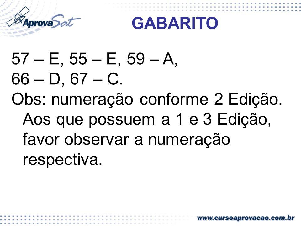 GABARITO 57 – E, 55 – E, 59 – A, 66 – D, 67 – C.