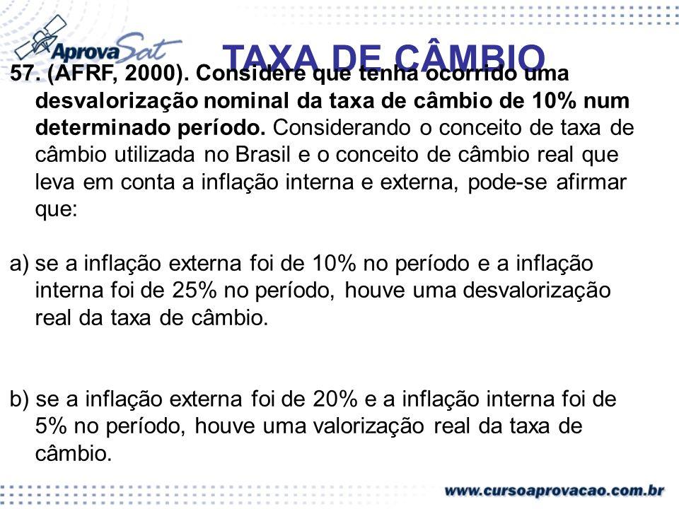 TAXA DE CÂMBIO