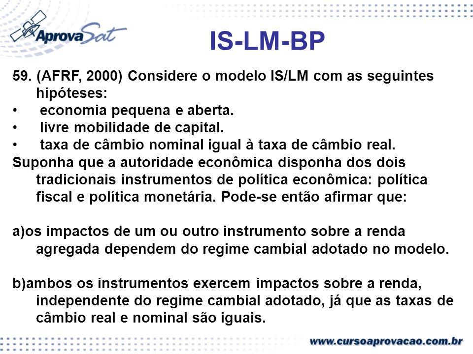 IS-LM-BP 59. (AFRF, 2000) Considere o modelo IS/LM com as seguintes hipóteses: economia pequena e aberta.