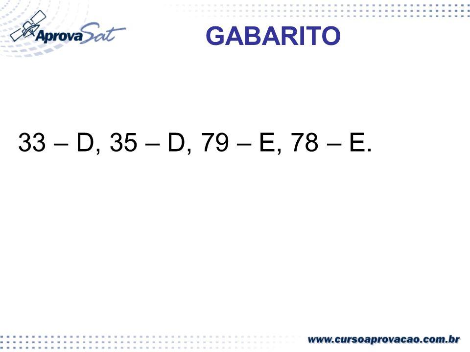 GABARITO 33 – D, 35 – D, 79 – E, 78 – E.
