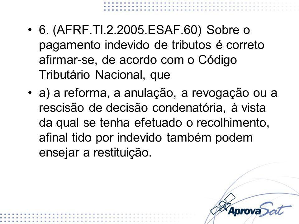 6. (AFRF.TI.2.2005.ESAF.60) Sobre o pagamento indevido de tributos é correto afirmar-se, de acordo com o Código Tributário Nacional, que