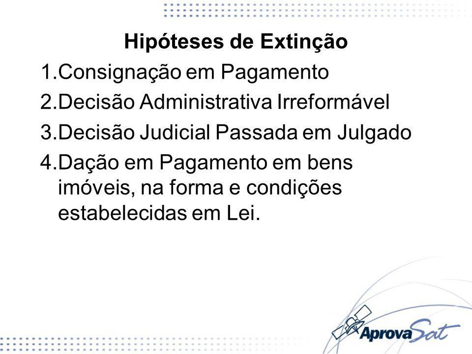 Hipóteses de ExtinçãoConsignação em Pagamento. Decisão Administrativa Irreformável. Decisão Judicial Passada em Julgado.