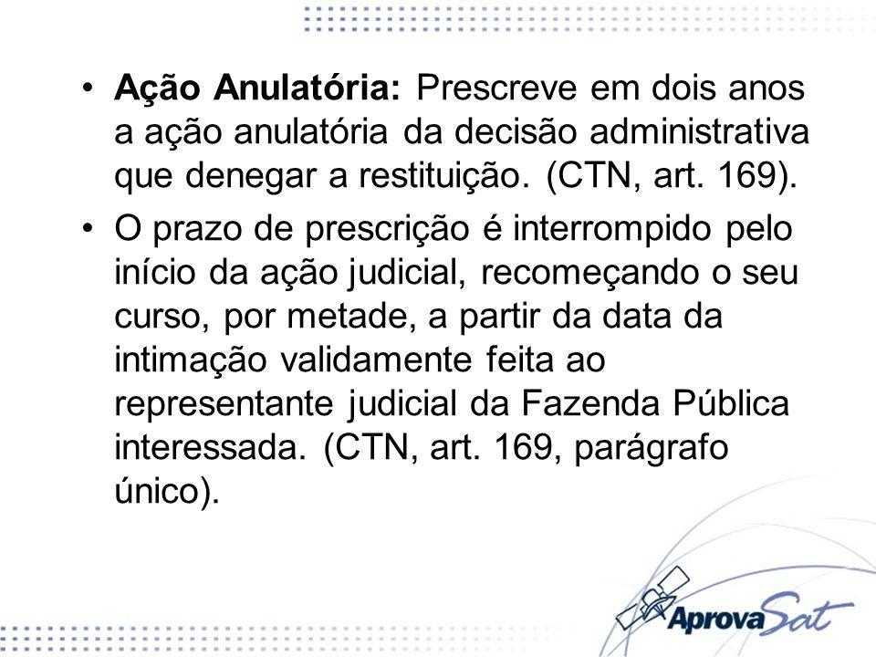 Ação Anulatória: Prescreve em dois anos a ação anulatória da decisão administrativa que denegar a restituição. (CTN, art. 169).