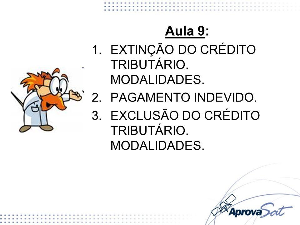 Aula 9: EXTINÇÃO DO CRÉDITO TRIBUTÁRIO. MODALIDADES.