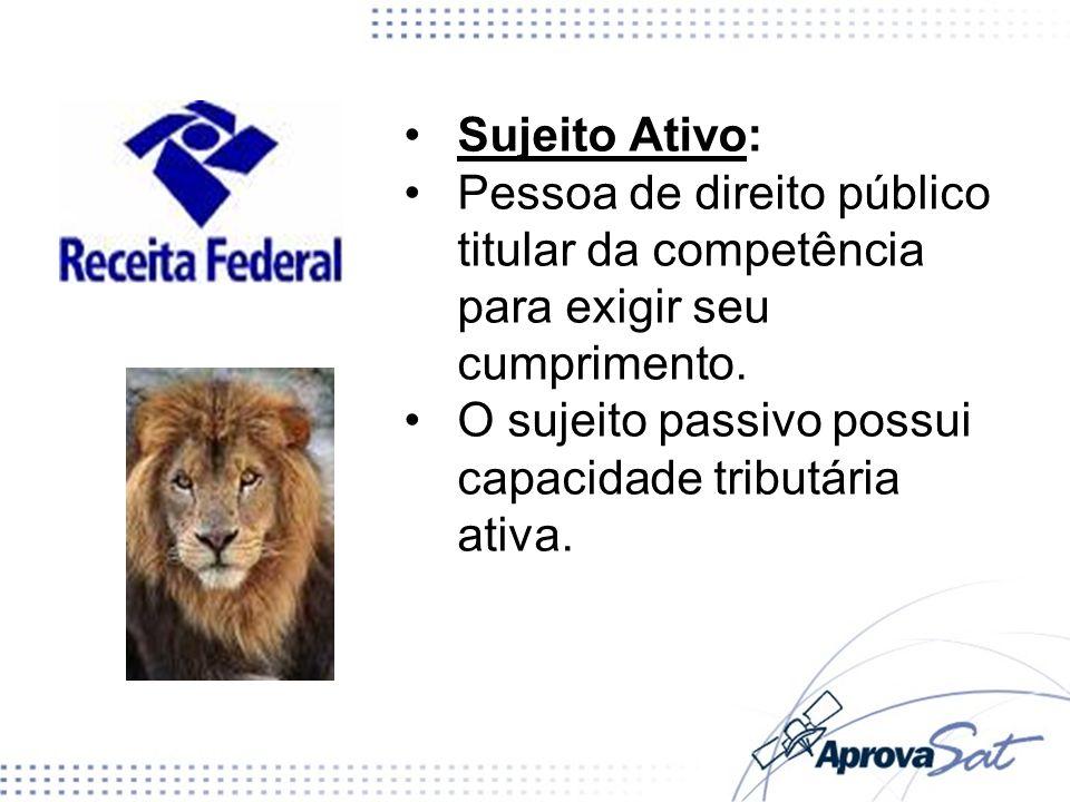 Sujeito Ativo: Pessoa de direito público titular da competência para exigir seu cumprimento.