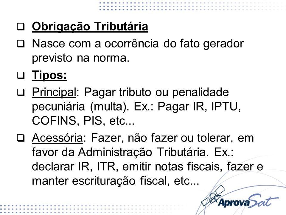 Obrigação Tributária Nasce com a ocorrência do fato gerador previsto na norma. Tipos: