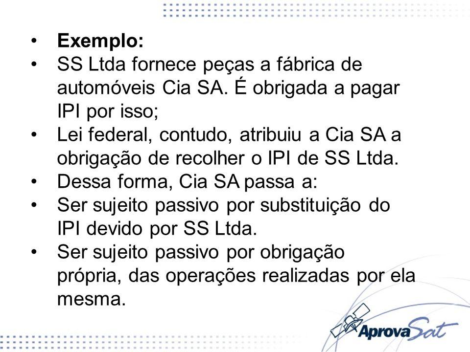 Exemplo: SS Ltda fornece peças a fábrica de automóveis Cia SA. É obrigada a pagar IPI por isso;