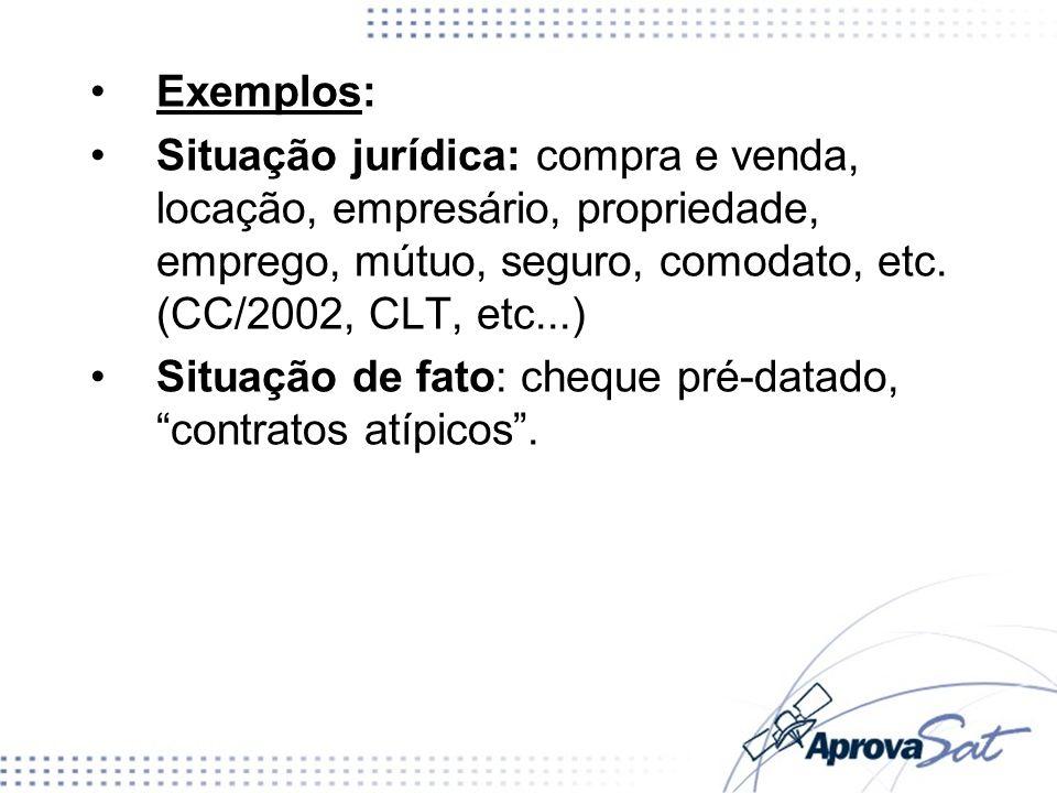 Exemplos: Situação jurídica: compra e venda, locação, empresário, propriedade, emprego, mútuo, seguro, comodato, etc. (CC/2002, CLT, etc...)