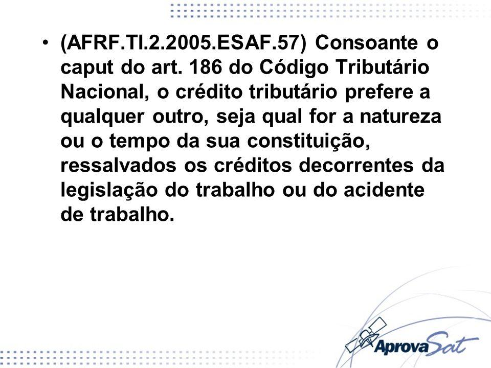 (AFRF. TI. 2. 2005. ESAF. 57) Consoante o caput do art