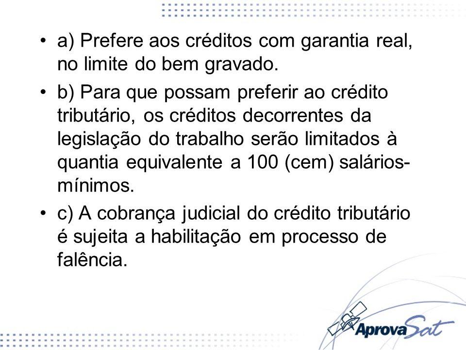 a) Prefere aos créditos com garantia real, no limite do bem gravado.