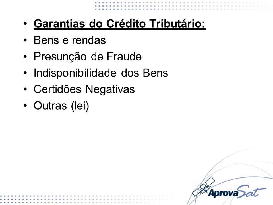 Garantias do Crédito Tributário: Bens e rendas Presunção de Fraude