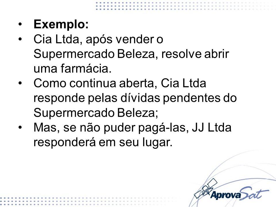 Exemplo:Cia Ltda, após vender o Supermercado Beleza, resolve abrir uma farmácia.