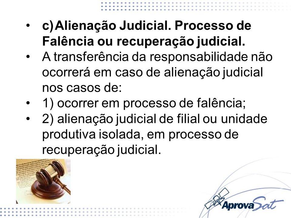 c) Alienação Judicial. Processo de Falência ou recuperação judicial.