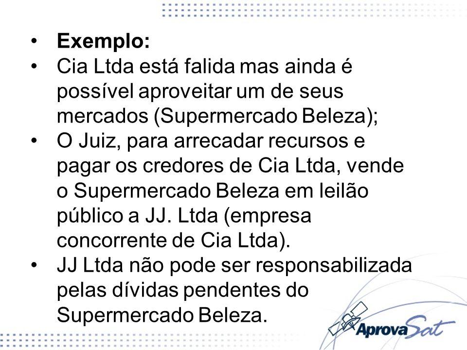 Exemplo:Cia Ltda está falida mas ainda é possível aproveitar um de seus mercados (Supermercado Beleza);