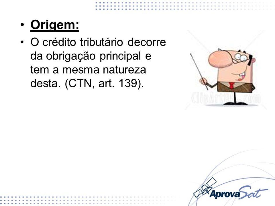 Origem:O crédito tributário decorre da obrigação principal e tem a mesma natureza desta.