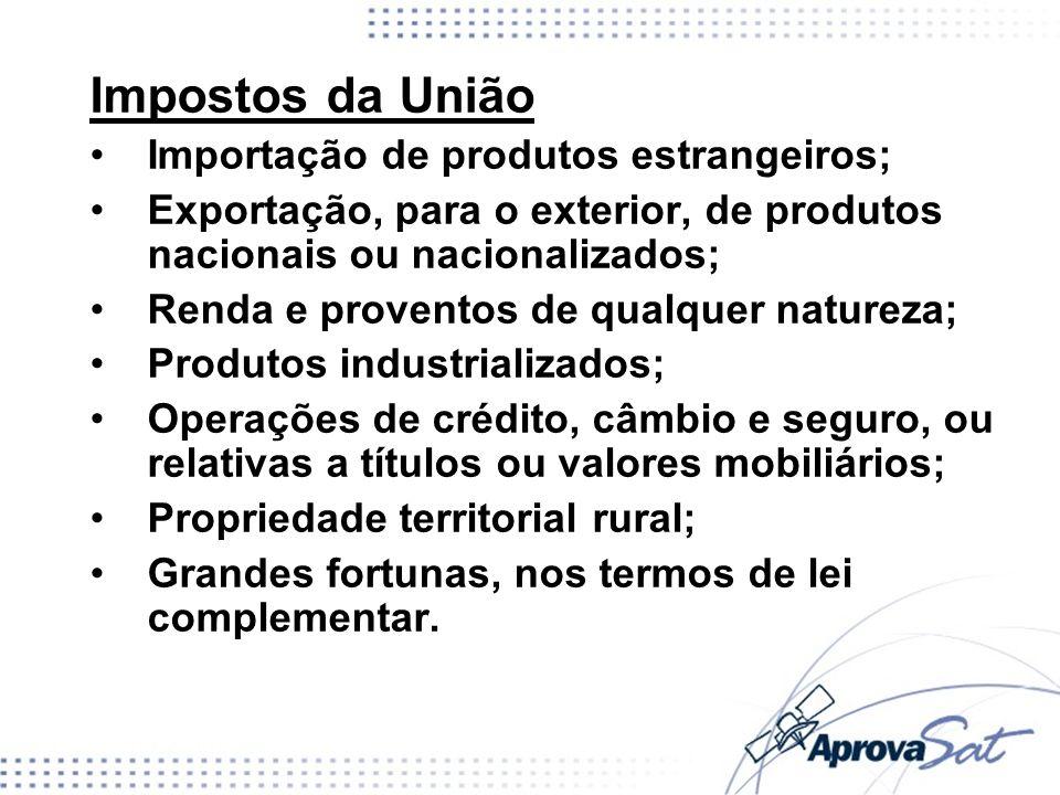 Impostos da União Importação de produtos estrangeiros;