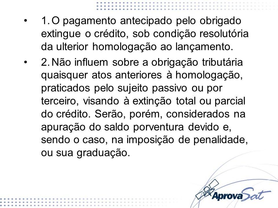 1. O pagamento antecipado pelo obrigado extingue o crédito, sob condição resolutória da ulterior homologação ao lançamento.