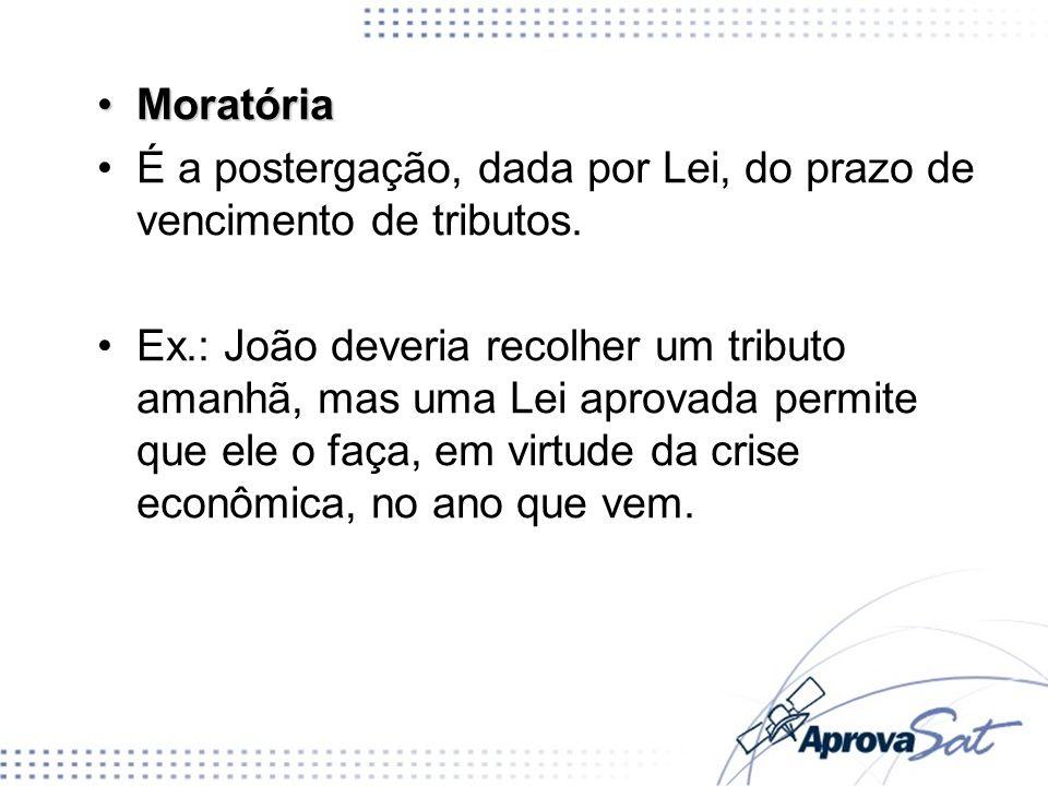 Moratória É a postergação, dada por Lei, do prazo de vencimento de tributos.