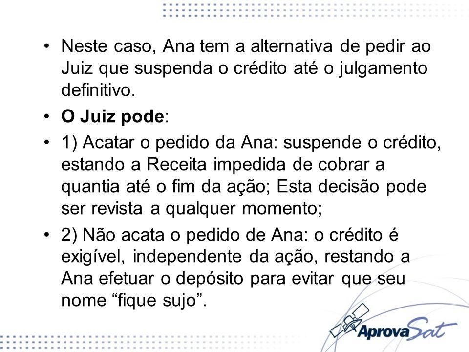 Neste caso, Ana tem a alternativa de pedir ao Juiz que suspenda o crédito até o julgamento definitivo.