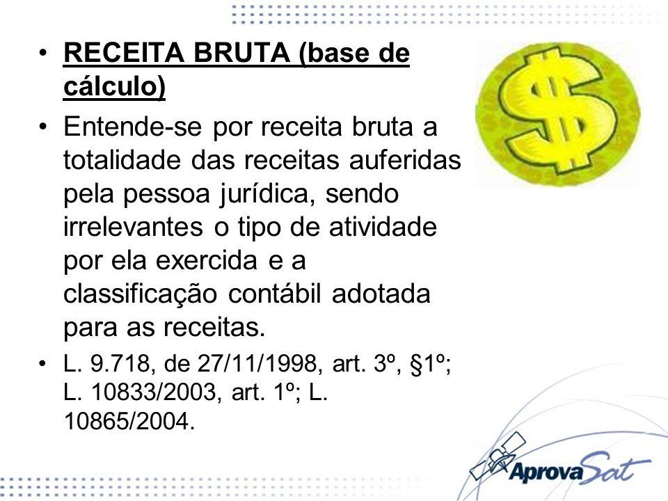 RECEITA BRUTA (base de cálculo)
