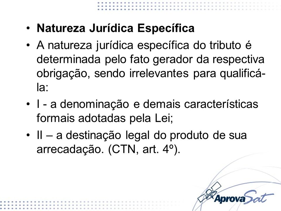 Natureza Jurídica Específica