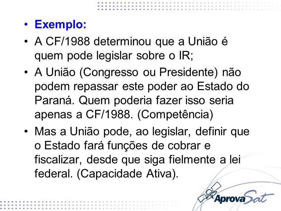 A CF/1988 determinou que a União é quem pode legislar sobre o IR;