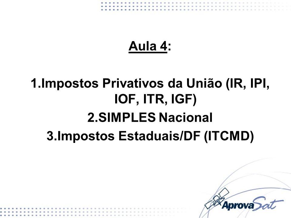 Impostos Privativos da União (IR, IPI, IOF, ITR, IGF) SIMPLES Nacional