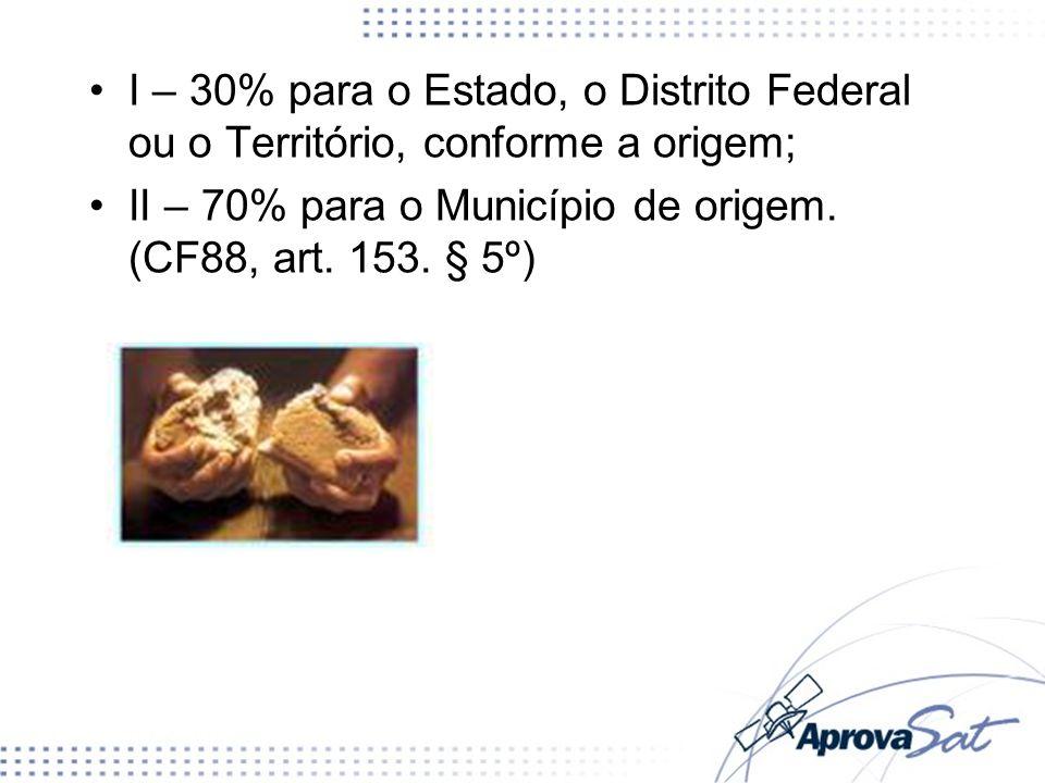 II – 70% para o Município de origem. (CF88, art. 153. § 5º)