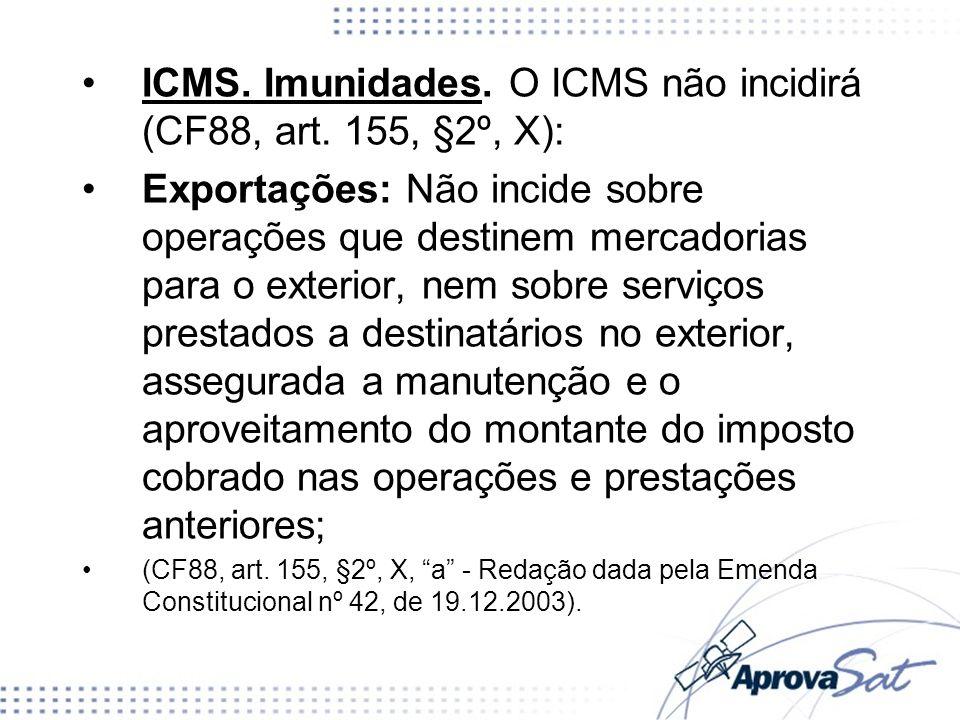 ICMS. Imunidades. O ICMS não incidirá (CF88, art. 155, §2º, X):