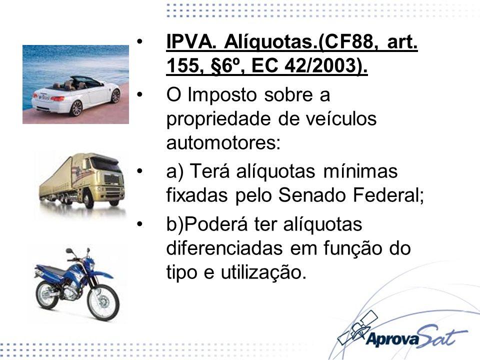 IPVA. Alíquotas.(CF88, art. 155, §6º, EC 42/2003).