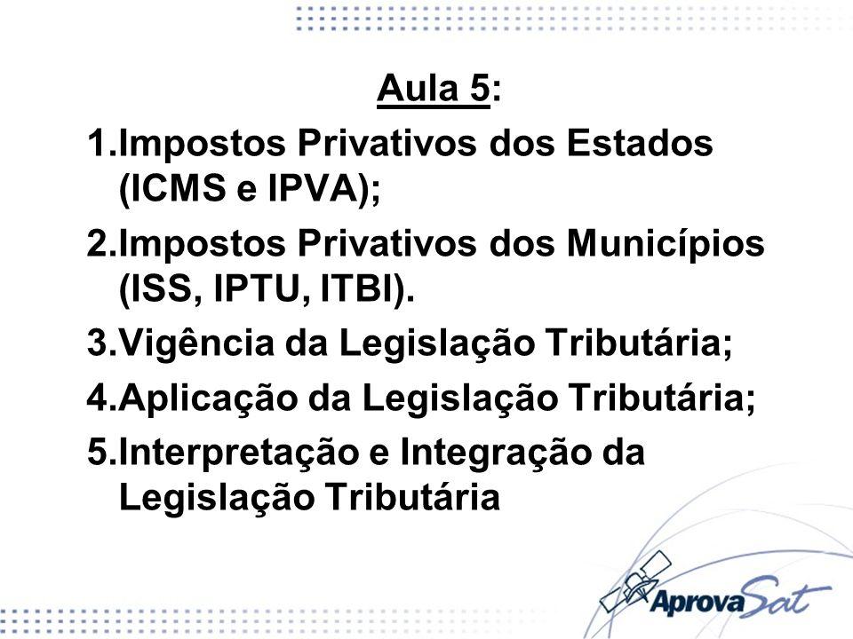 Aula 5: Impostos Privativos dos Estados (ICMS e IPVA); Impostos Privativos dos Municípios (ISS, IPTU, ITBI).