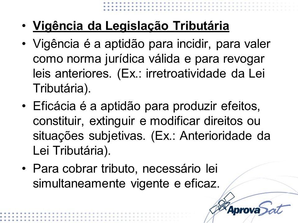 Vigência da Legislação Tributária