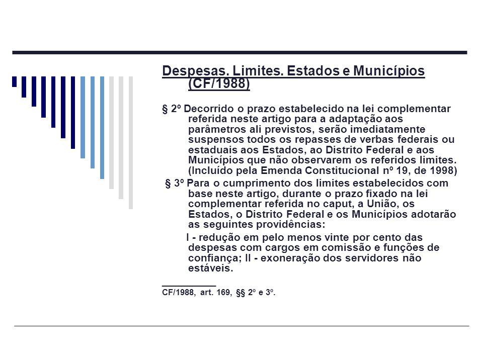 Despesas. Limites. Estados e Municípios (CF/1988)