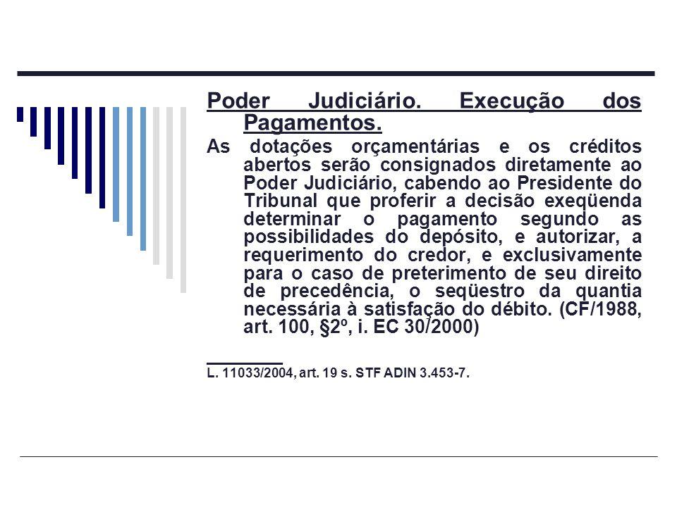 Poder Judiciário. Execução dos Pagamentos.