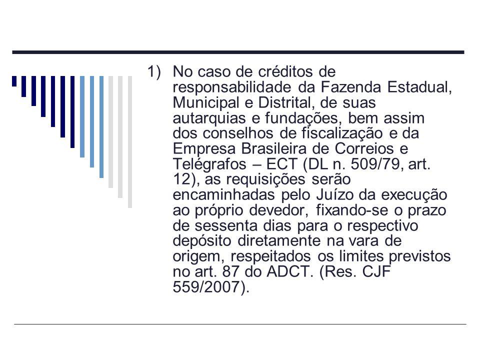 No caso de créditos de responsabilidade da Fazenda Estadual, Municipal e Distrital, de suas autarquias e fundações, bem assim dos conselhos de fiscalização e da Empresa Brasileira de Correios e Telégrafos – ECT (DL n.